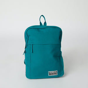 Front view of a teal Terra Thread vegan sustainable backpack