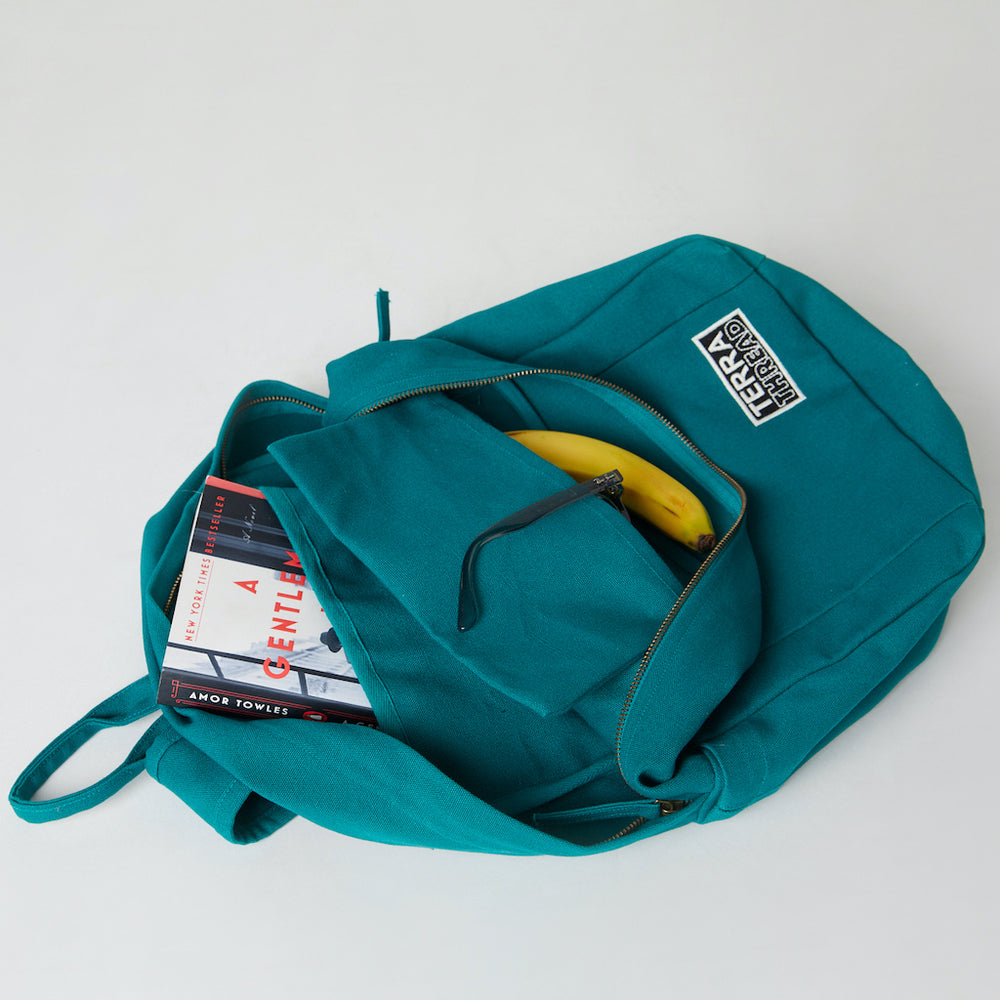 Inside of a Terra Thread organic cotton backpack