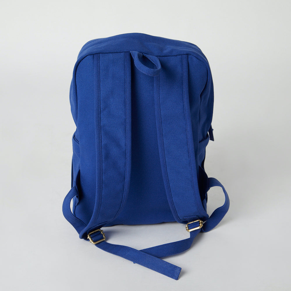Load image into Gallery viewer, Back view of a blue Terra Thread natural cotton backpack