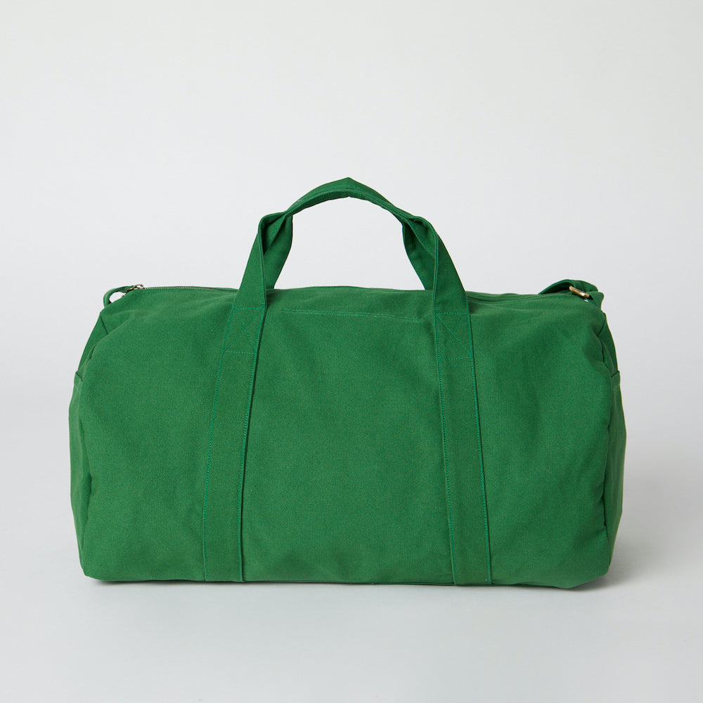 Back view of a green green color organic cotton duffle bag