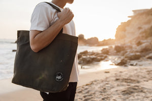 Black Canvas Tote Bag with pocket