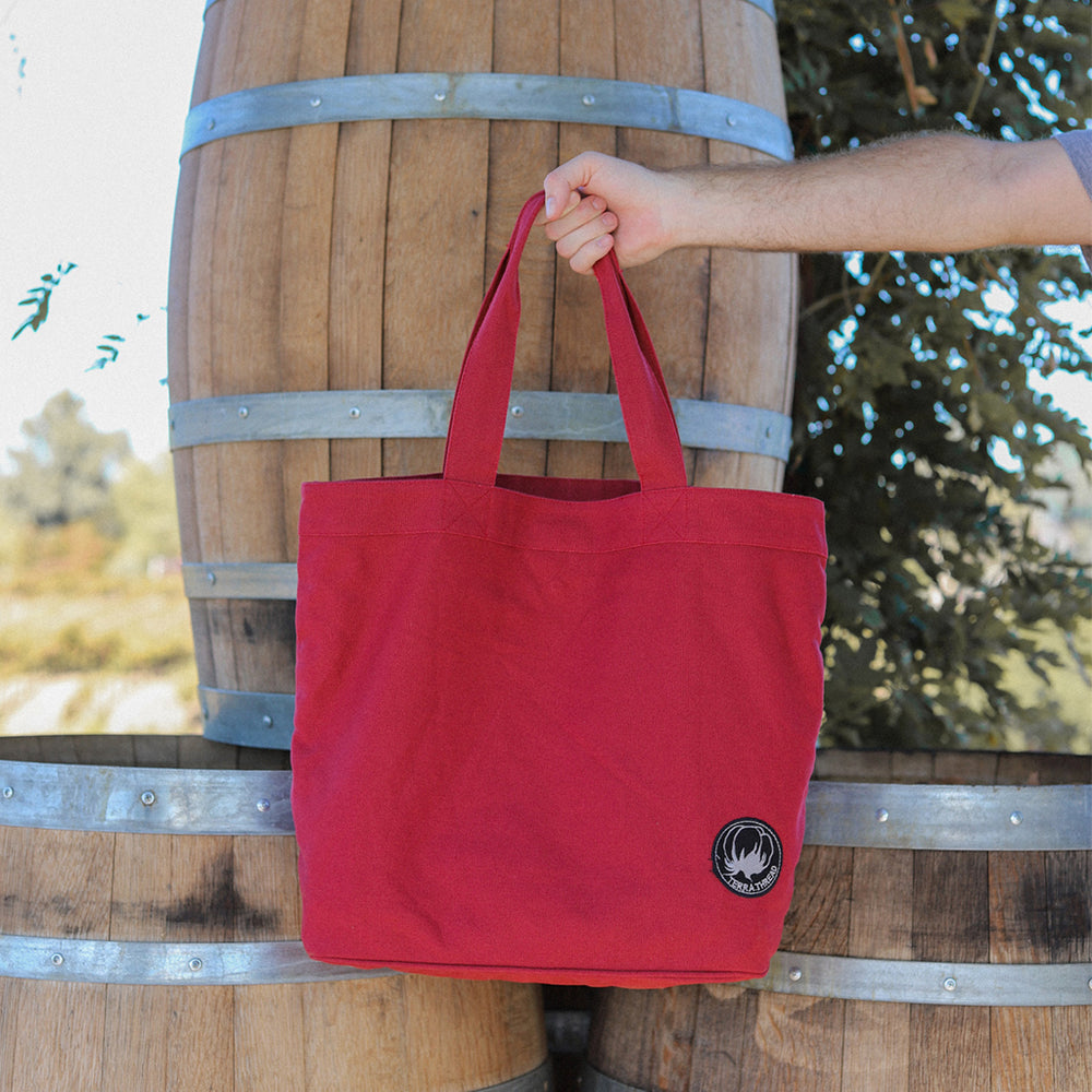Red Cotton canvas tote bag organic cotton