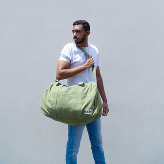 Olive Green Duffel Bag made with organic cotton