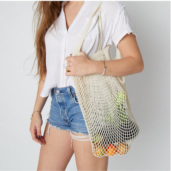 French String Mesh Bag for beach and grocery shopping