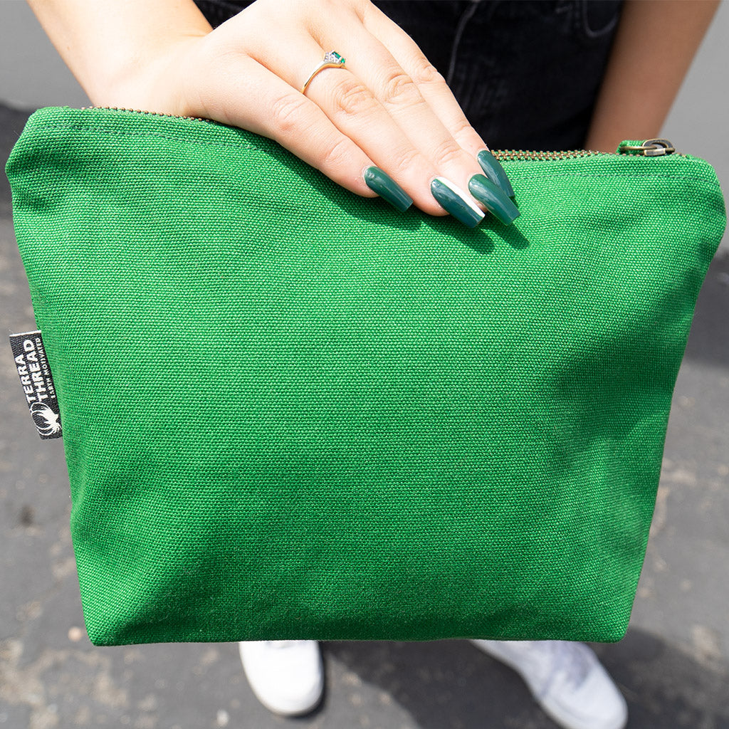 Large Toiletry Travel Bag made with organic cotton canvas green color
