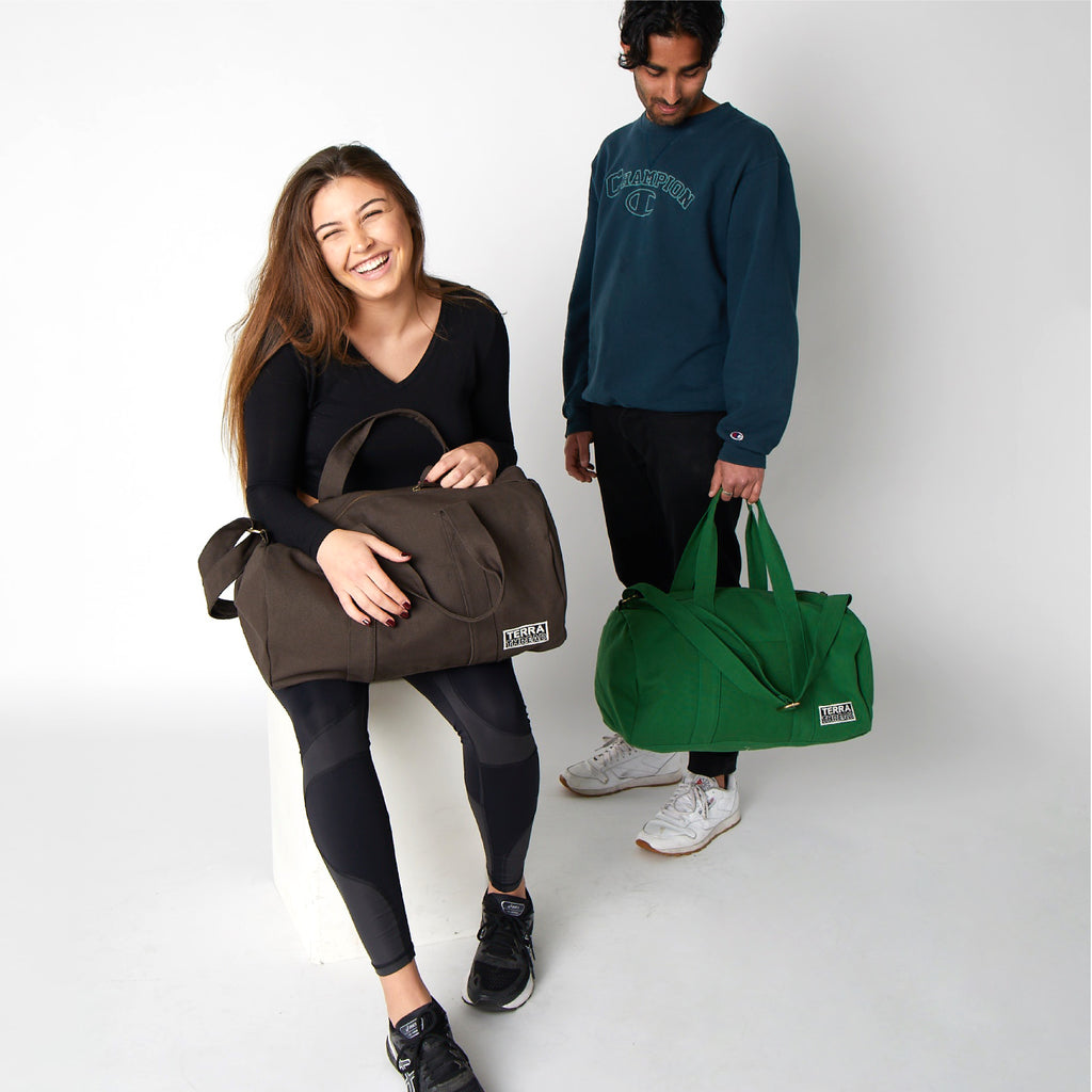 Green duffle Bag made with Organic Cotton