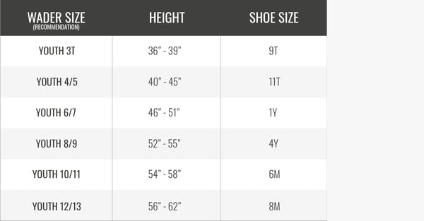 Size Chart   Youth Series – Gator Waders