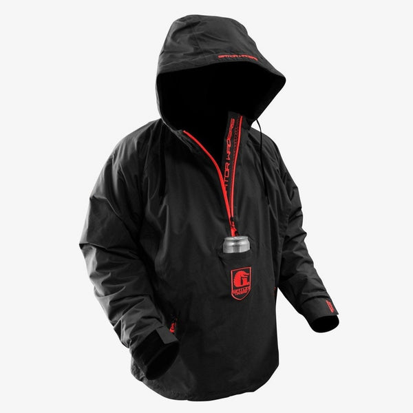 Men's Waterproof 1/2 Zip Bog Hoodie - Black/Red