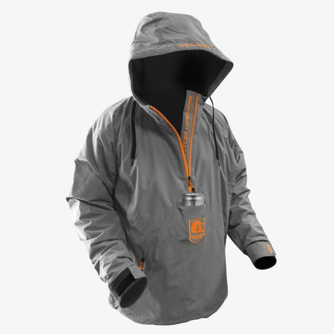 Men's Waterproof 1/2 Zip Bog Hoodie - Grey/Orange