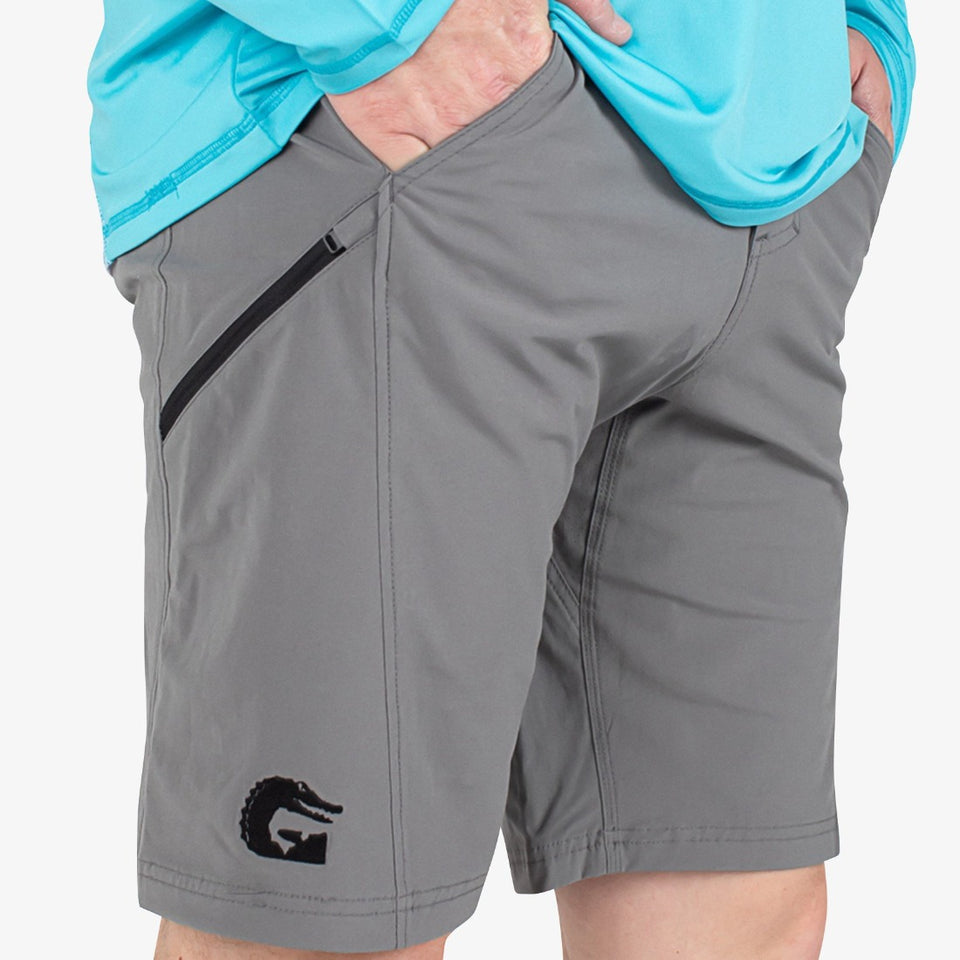 Breakline Performance Fishing Shorts | Mens - Grey Fish Gator Waders