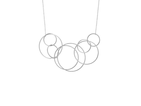 Alienor Silver Geometric Entwined Circles Statement Necklace