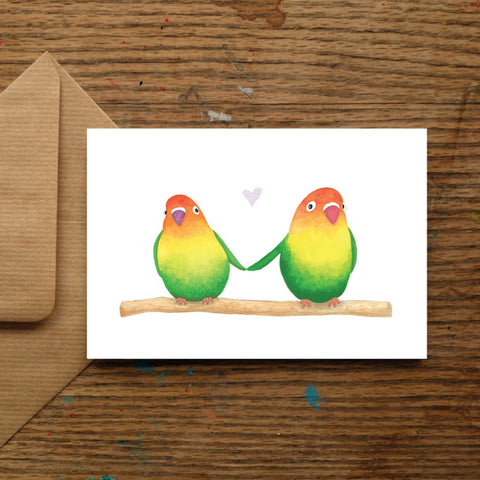 Lovebirds Blank Greeting Card