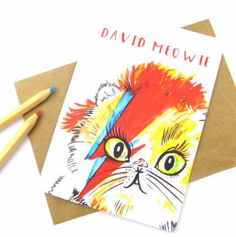 David Meowie Greeting Card