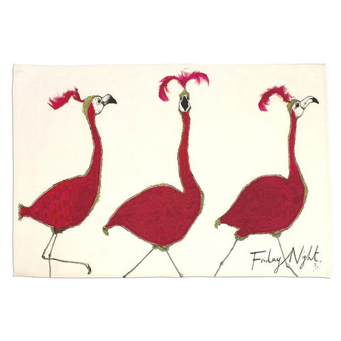 Anna Wright Friday Night Flamingos Tea Towel
