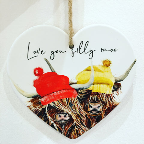 Love You Silly Moo Highland Coo Hanging Heart