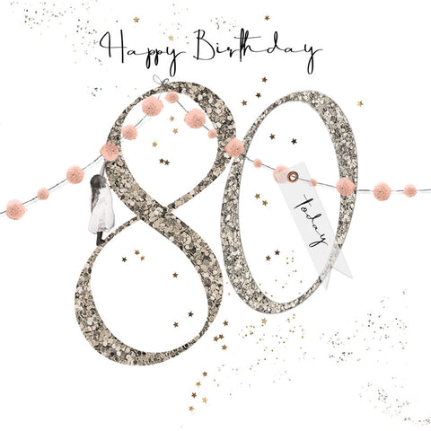 Shimmer Ladies 80th Birthday Card