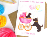 Cute Scotty Dog Baby Girl Card
