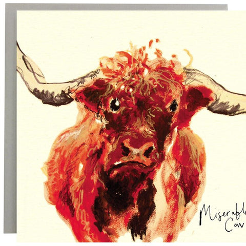 Miserable Cow Funny Highland Cow Card