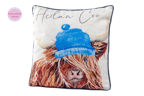 """Heilan Coo"" Highland Cow Print Cushion"