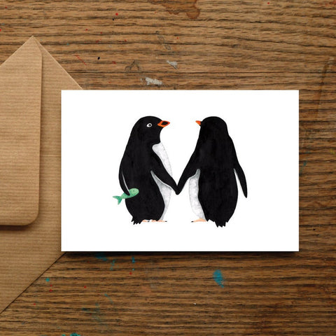 Cute Penguin Love Blank Greeting Card