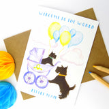 Cute Scottie Dog New Baby Boy Card