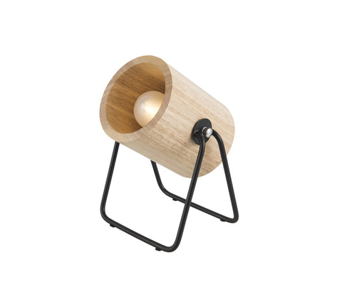 Wooden Table Lamp Hefty Round