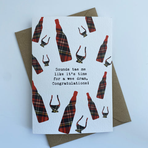 Time for a Wee Dram Scottish Congratulations Card