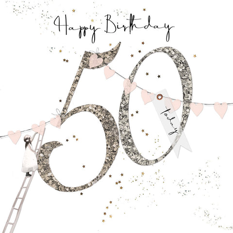 Shimmer Ladies 50th Birthday Card