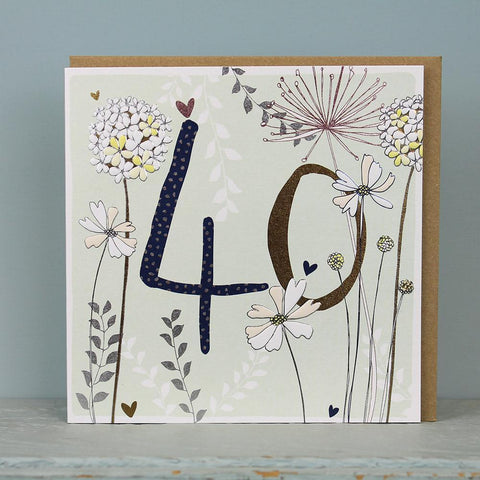 40th Birthday Flowers Card