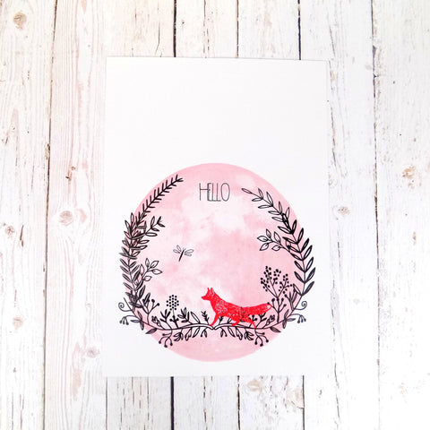 Hello (Red Fox) A4 print