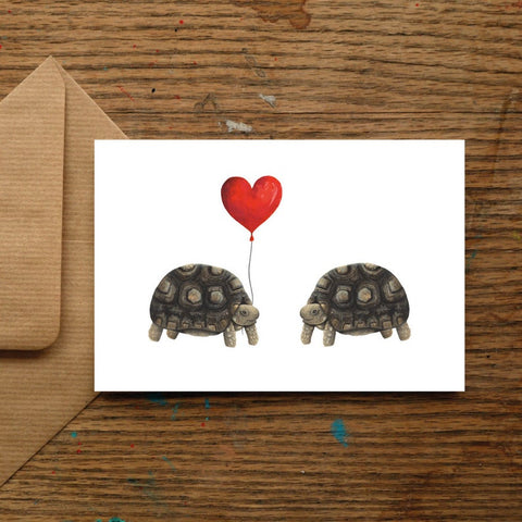 Cute Tortoise Love Blank Greeting Card