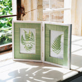 DISTRESSED GREEN WOODEN DOUBLE PHOTO FRAME