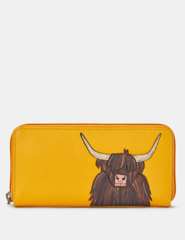 HIGHLAND COW YELLOW LEATHER BAXTER PURSE