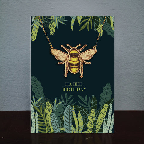 Bee Birthday Card & Wooden Necklace