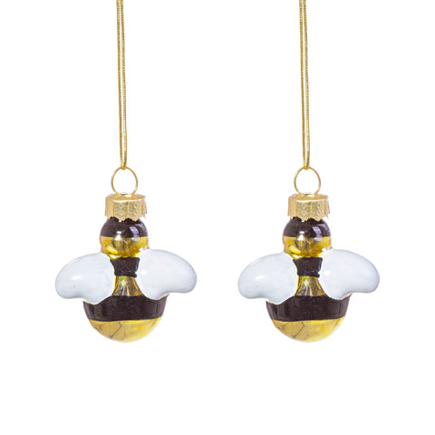 BEE SHAPED MINI BAUBLES - SET OF 2