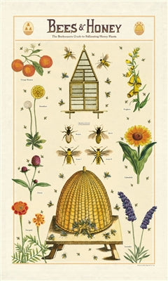 Bees & Honey Print Cotton Tea Towel