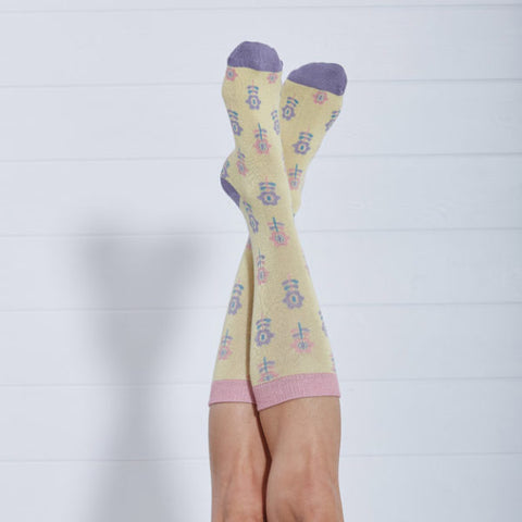 Ladies Bamboo Socks Yellow Floral