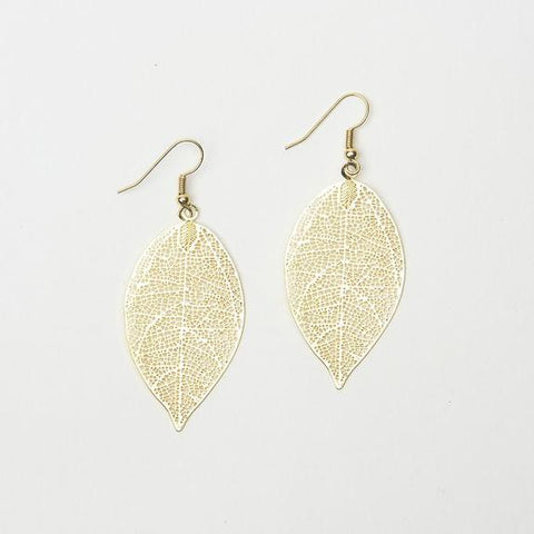 Large Delicate Gold Filigree Leaf Earrings