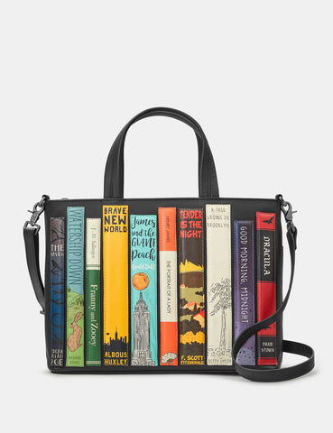 Bookworm Black Leather Library Books Multiway Grab Bag