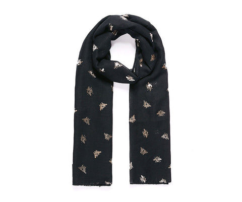 Black Metallic Rose Gold Bee Print Scarf