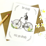 Bon Voyage (Rabbit on Bike) card