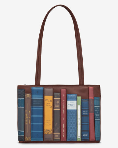 Bookworm Brown Leather Library Books Shoulder Bag