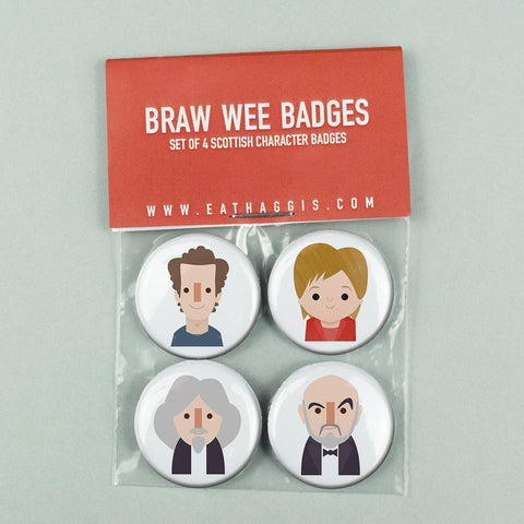 'BRAW WEE' SCOTTISH CHARACTER BADGE PACK