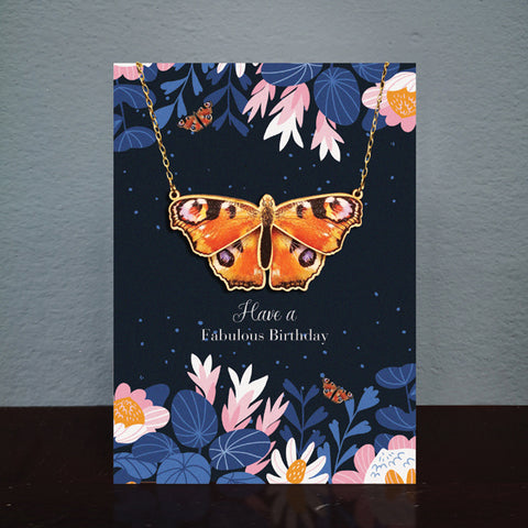 Butterfly Birthday Card & Wooden Necklace