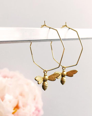 Geometric Gold Plate Bee Hoop Earrings