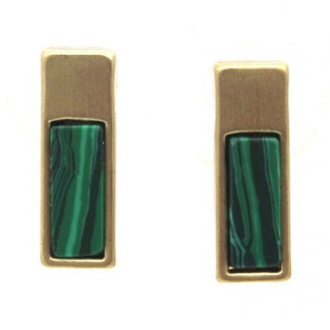 Small Rectangle Stud Earrings Gold Green