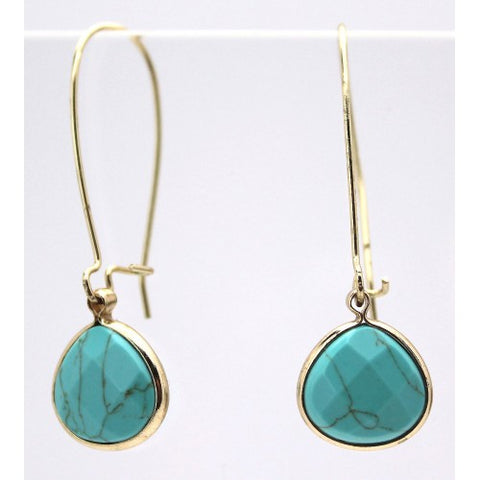 Stone Tear Drop Earrings Gold Turquoise