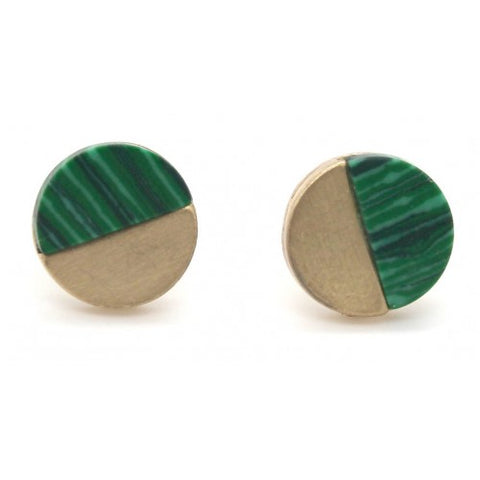 Brushed Metal Stone Round Stud Earrings Gold Green