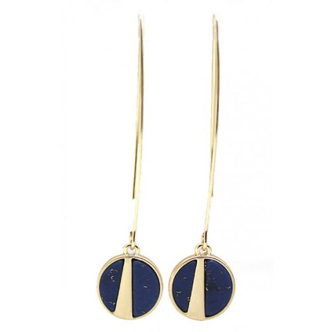 Small Round Brushed Metal Drop Earrings Gold Navy