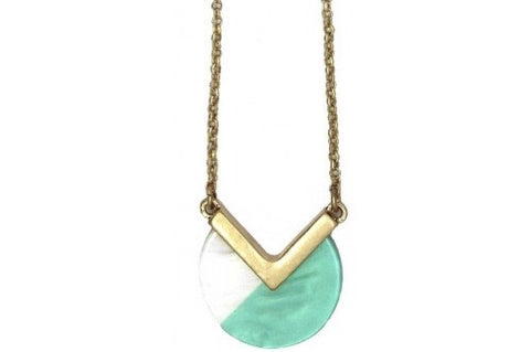 Two Tone Coloured Simple Resin Pendant Necklace Gold Mint